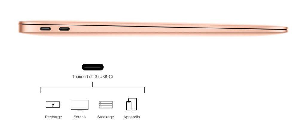 macbook air retina 2018 ports Apple présente le MacBook Air Retina : nouveau design, Touch ID, USB C