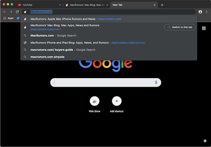Mode Sombre Google Chrome Mac 2 Premier aperçu du Mode Sombre de Google Chrome sur Mac