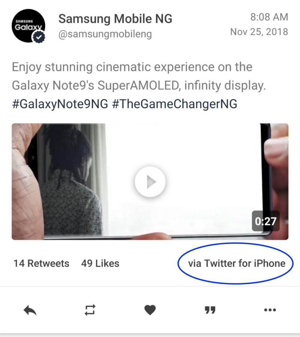 Tweet Samsung iPhone Insolite : Samsung tweete avec iPhone pour promouvoir... son Galaxy Note 9