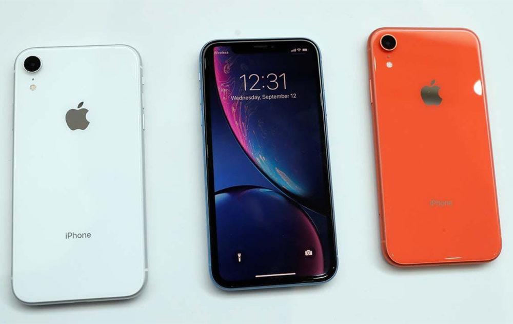 iphone xr blanc noir rouge 1000x631 Nouvelles diagonales décran et de lOLED sur tous les iPhone de 2020 ?