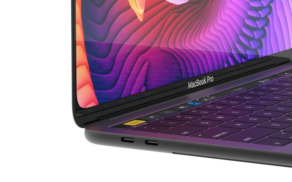 MacBook Pro Concept Clavier 1000x625 Un concept MacBook Pro avec un écran OLED bord à bord, Face ID et plus