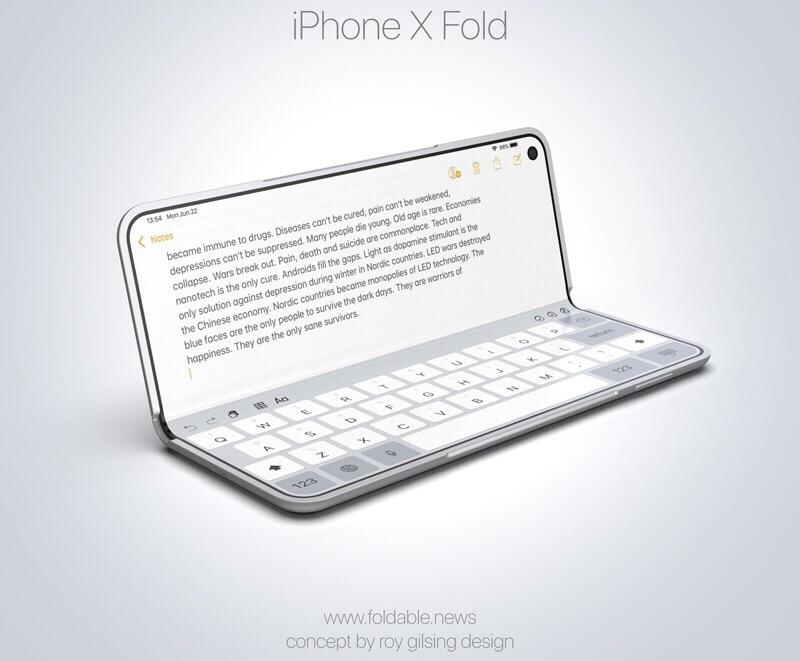 iPhone X Fold 2 Un concept iPhone pliable à l'instar du Samsung Galaxy Fold