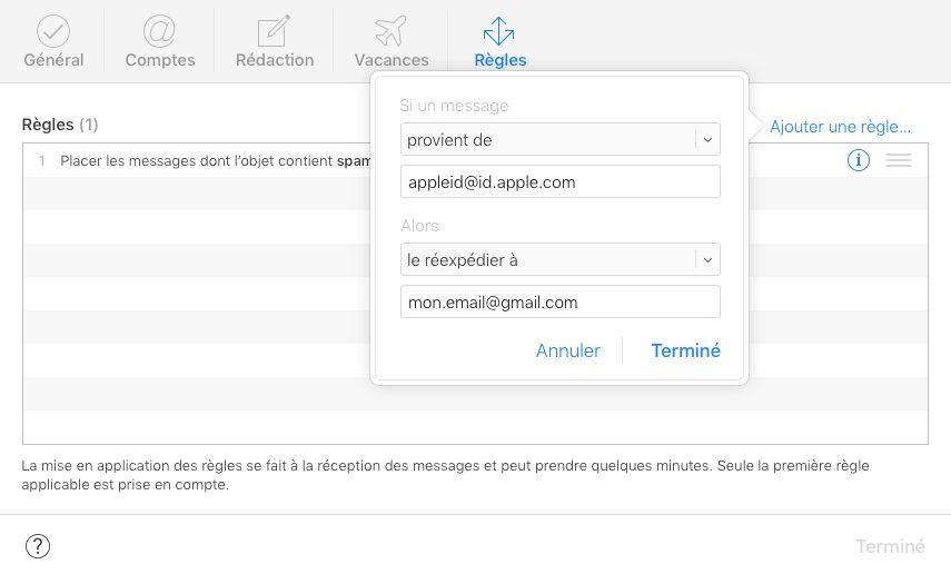 icloud mail regles Comment rediriger ses e mails iCloud vers une autre adresse