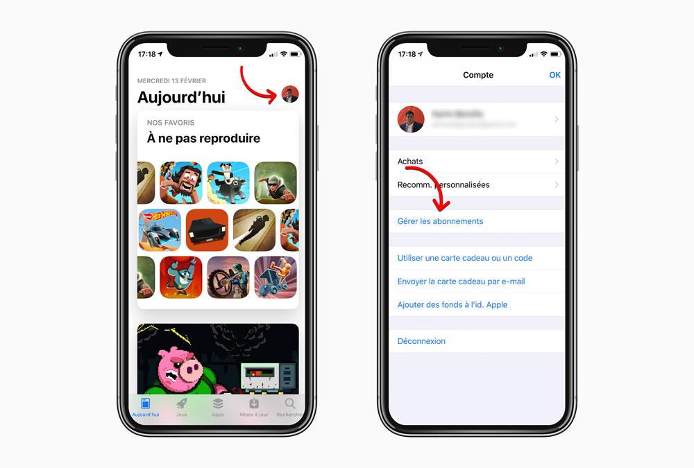iphoneX screens iOS 12.1.4 simplifie la gestion des abonnements payants