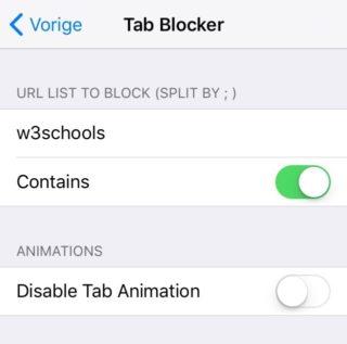 tabblocker preferences 320x317 TabBlocker permet de bloquer les fenêtres pop up dans Safari sur iOS