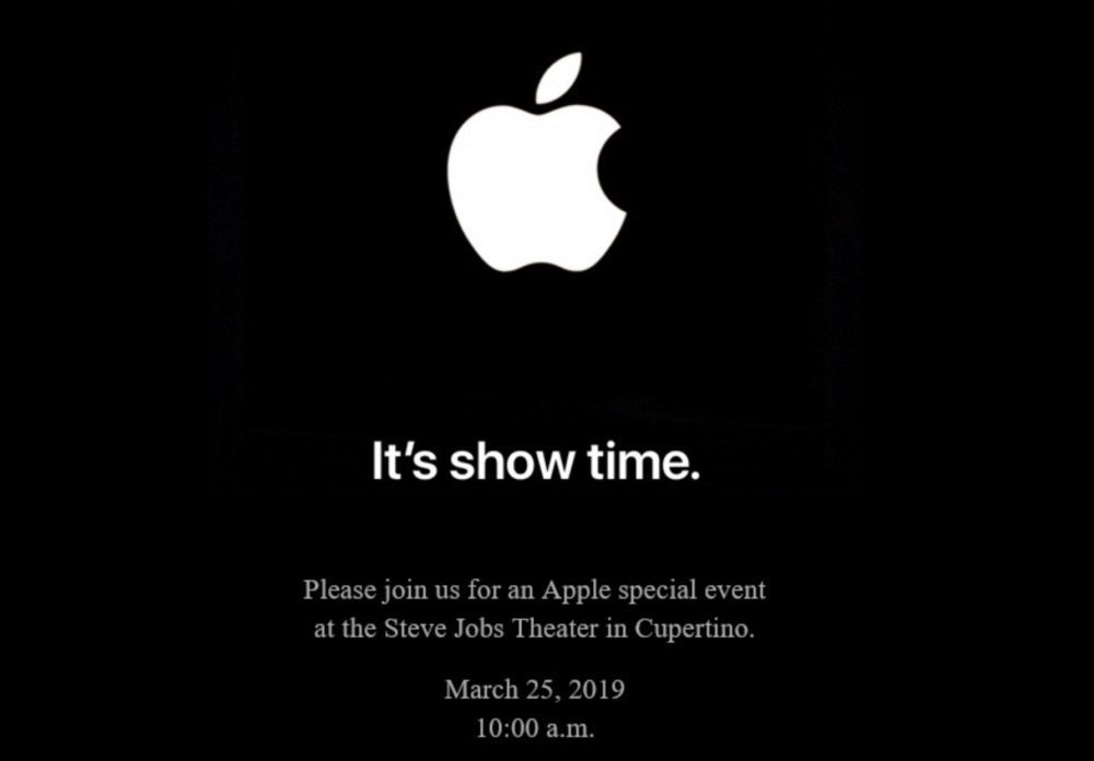 Keynote 25 Mars 2019 Apple Showtime 1000x696 Its show time : Apple annonce une keynote pour le 25 mars