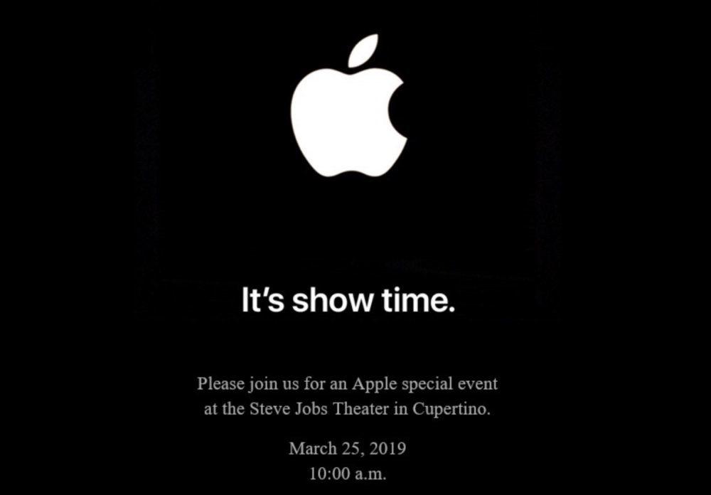 Keynote 25 Mars 2019 Apple Showtime 1000x696 Its show time : Apple annonce une keynote pour le 25 mars
