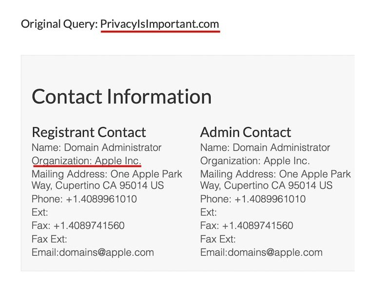 apple nom domaine Apple enregistre le nom de domaine PrivacyIsImportant.com