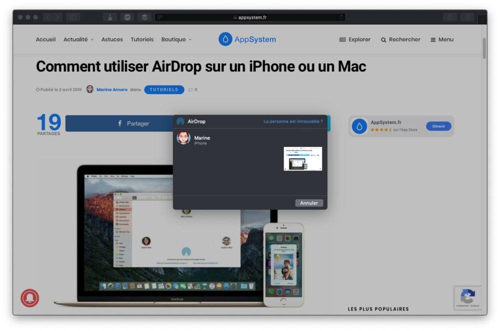 destinataire partage lien airdrop Copier coller Mac iPhone : le guide complet de Handoff / Continuité