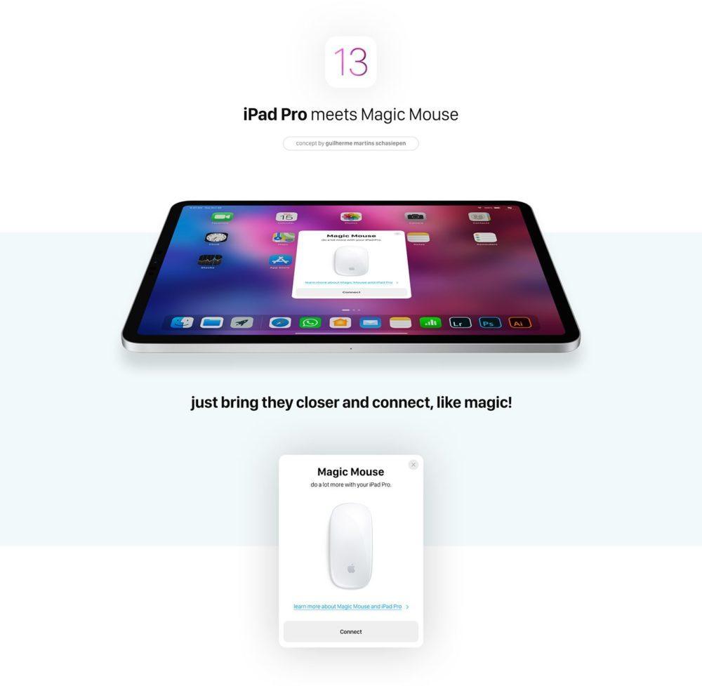 iOS 13 Concept Souris iPad 2 1000x977 Un concept iOS 13 imagine un multitâche amélioré, le support dune souris sur iPad et plus