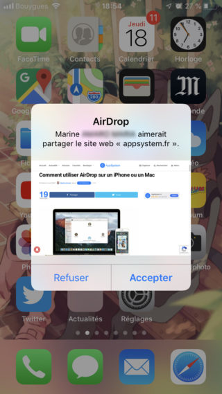 notification airdrop iphone e1555607467251 Copier coller Mac iPhone : le guide complet de Handoff / Continuité
