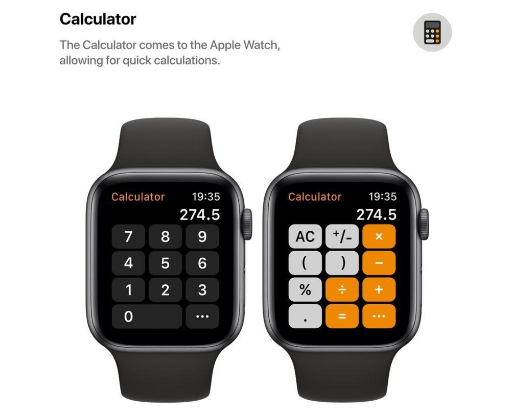 watchOS 6 Concept App Calculette 1000x813 watchOS 6 : un concept invente de nouveaux cadrans, des anneaux dactivité revus et plus
