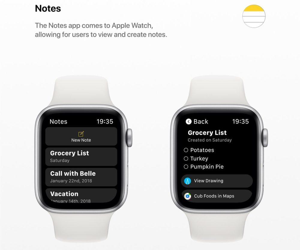 watchOS 6 Concept App Notes 1000x833 watchOS 6 : un concept invente de nouveaux cadrans, des anneaux dactivité revus et plus
