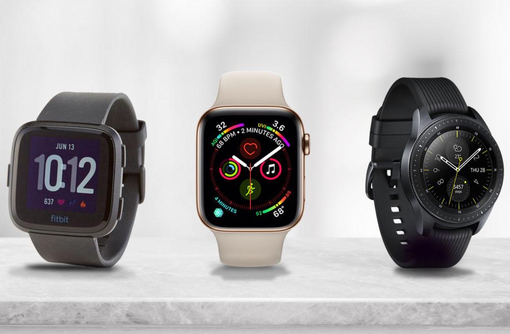 Montres Connectees Fitbit Apple Watch Galaxy Watch 1000x655 Montres/écouteurs : Huawei et Samsung progressent, mais sinclinent toujours devant Apple