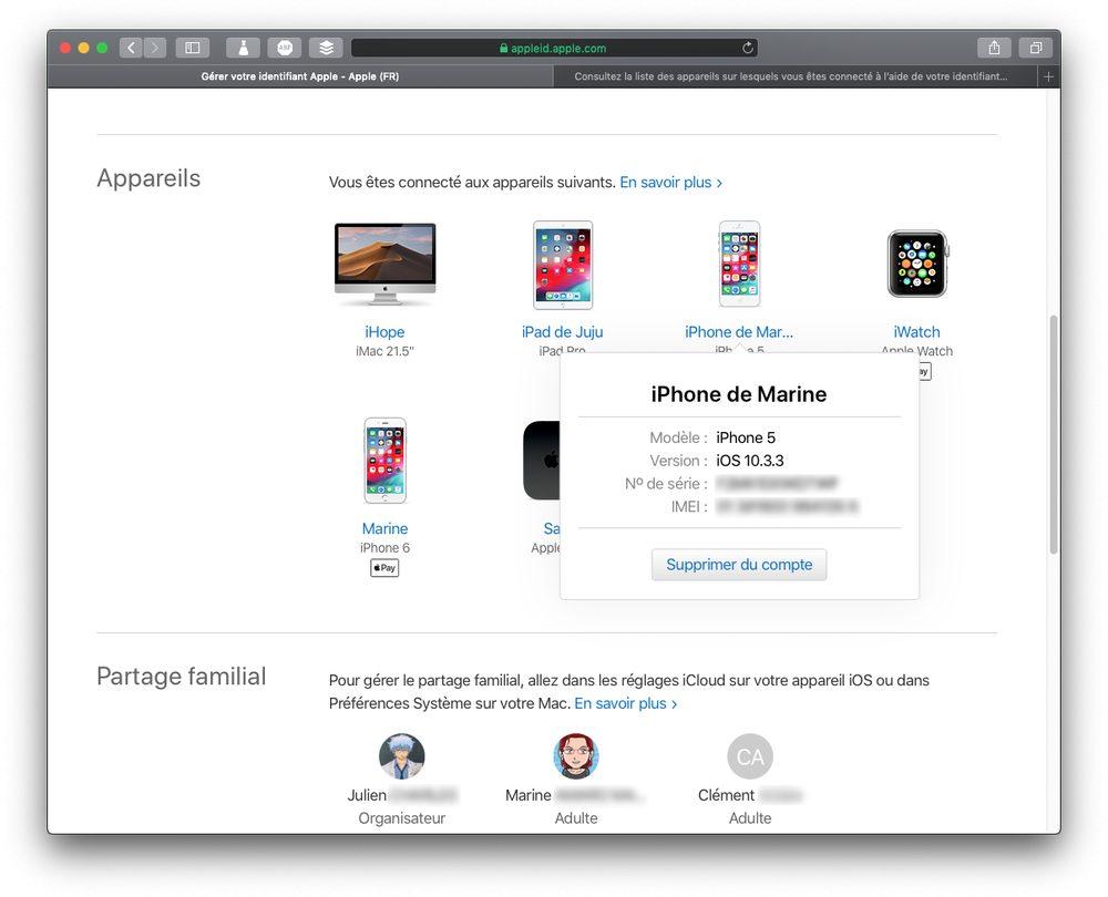 appareils connectes apple id Renforcer la sécurité de liPhone avec la double authentification