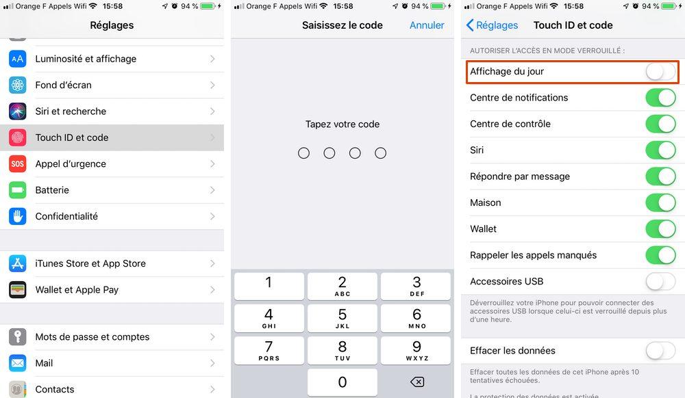 desactiver affichage jour Comment désactiver l'affichage du jour sur iPhone