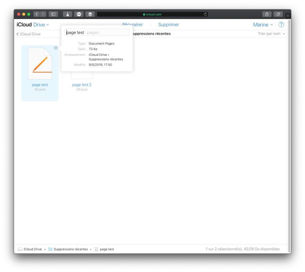 fichier supprime infos Comment récupérer des fichiers iCloud supprimés