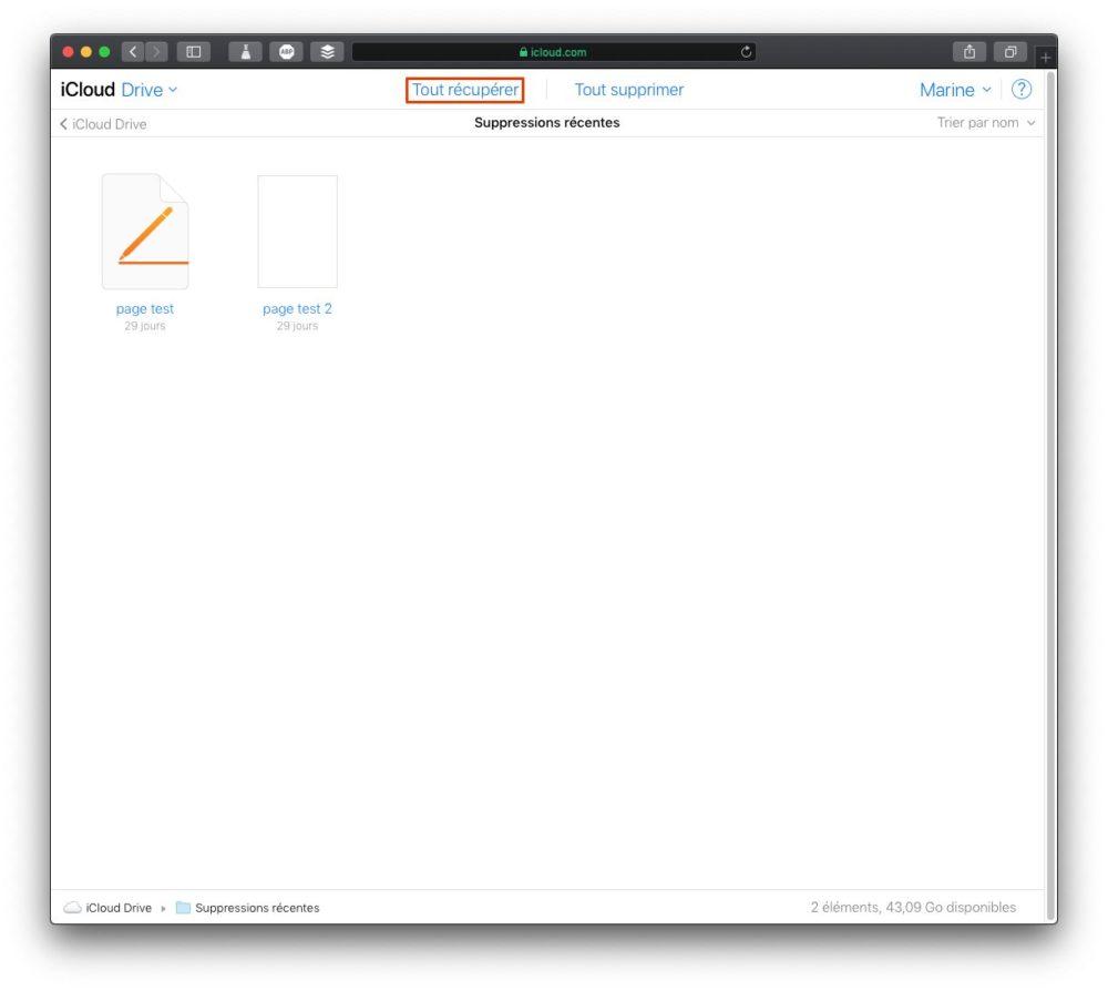 fichiers supprimes recemment Comment récupérer des fichiers iCloud supprimés