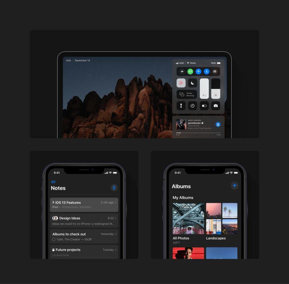 ios 13 concept dark mode ipad iphone 1000x984 Un concept iOS 13 permet de visualiser les fonctionnalités quApple dévoilerait à la WWDC