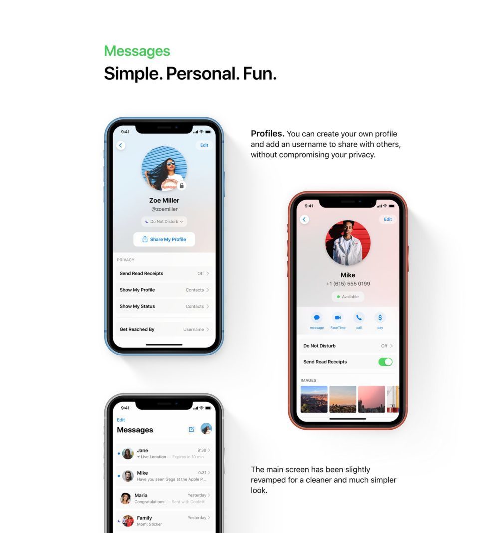 ios 13 concept iMessage 1000x1069 Un concept iOS 13 permet de visualiser les fonctionnalités quApple dévoilerait à la WWDC