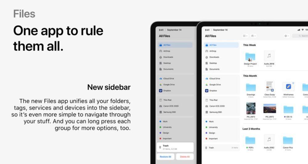 ios 13 files app 1000x533 Un concept iOS 13 permet de visualiser les fonctionnalités quApple dévoilerait à la WWDC