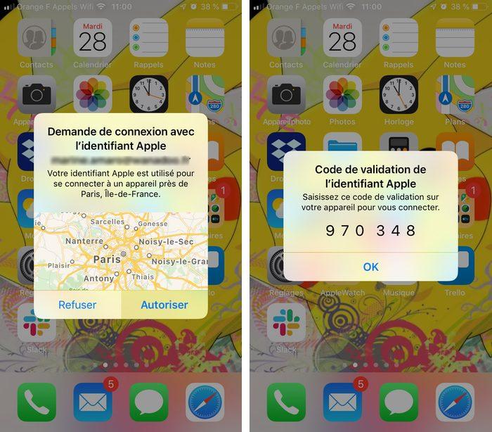 notifications identifcation iphone Renforcer la sécurité de liPhone avec la double authentification
