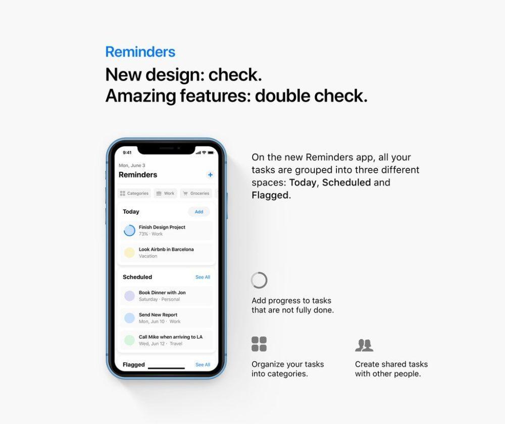reminders ios 13 concept 1000x839 Un concept iOS 13 permet de visualiser les fonctionnalités quApple dévoilerait à la WWDC