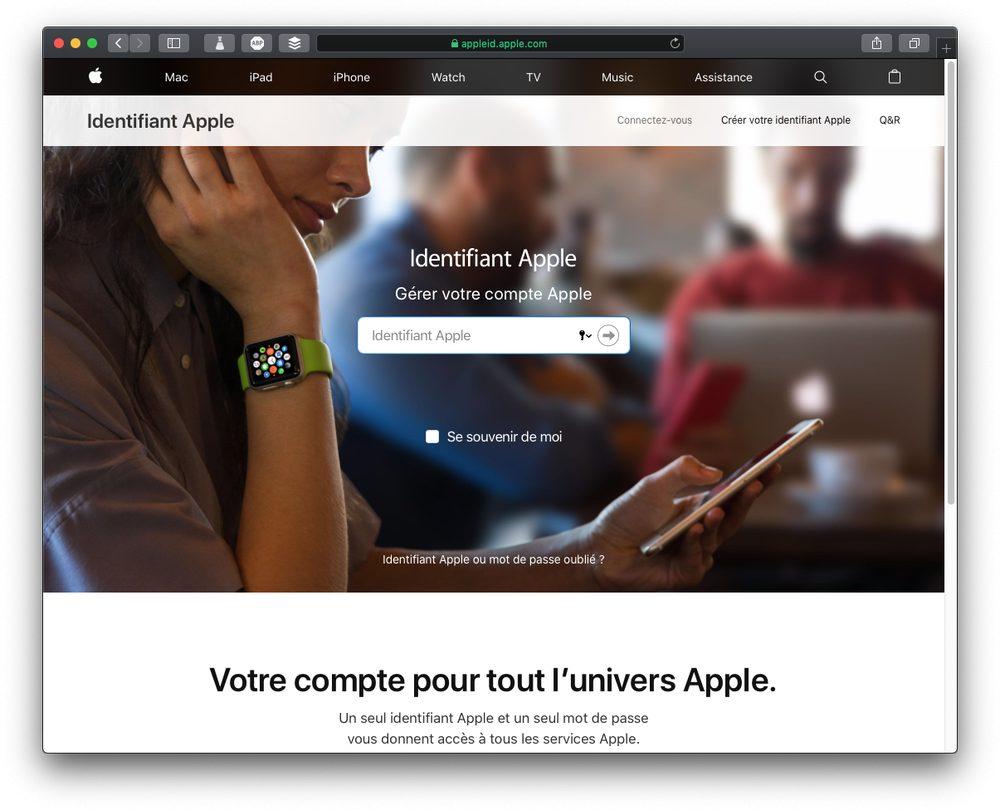 site apple id Renforcer la sécurité de liPhone avec la double authentification
