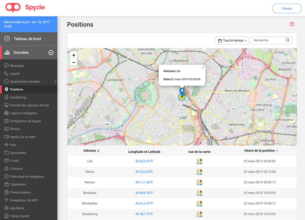 Spyzie gps Spyzie : mobile tracker et localiser un iPhone perdu
