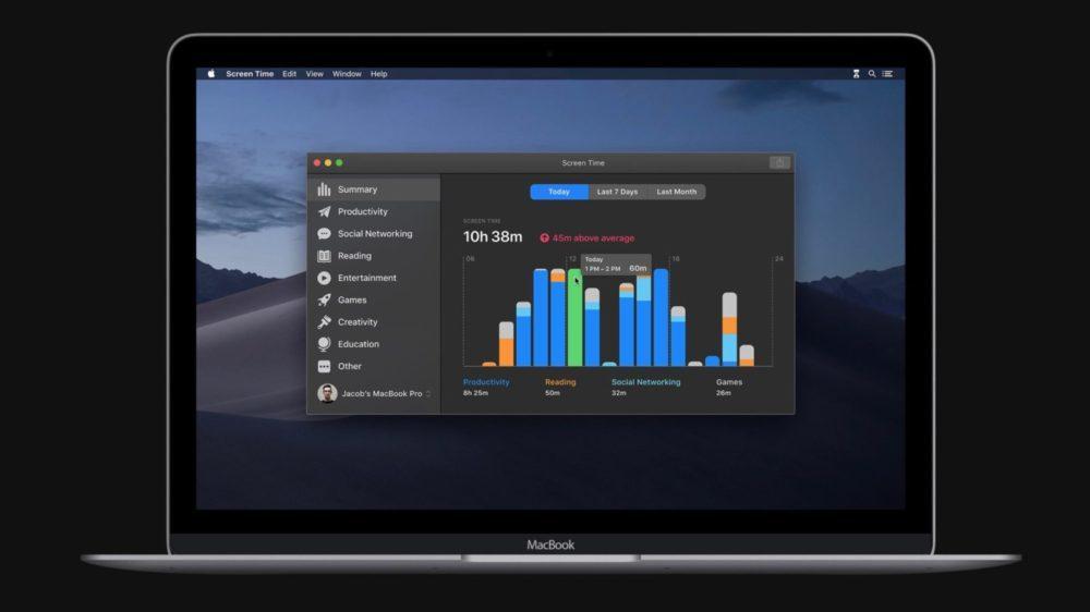 WWDC macOS Catalina 10 15 Temps Ecran 1000x562 WWDC 2019 : Apple dévoile macOS Catalina 10.15 et la fin diTunes