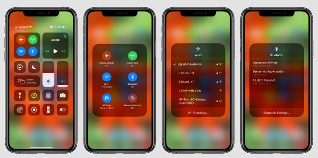 iOS 13 Choisir WiFi Centre de Controle iOS 13 : il est possible de choisir un réseau Wi Fi ou appareil Bluetooth depuis le Centre de contrôle