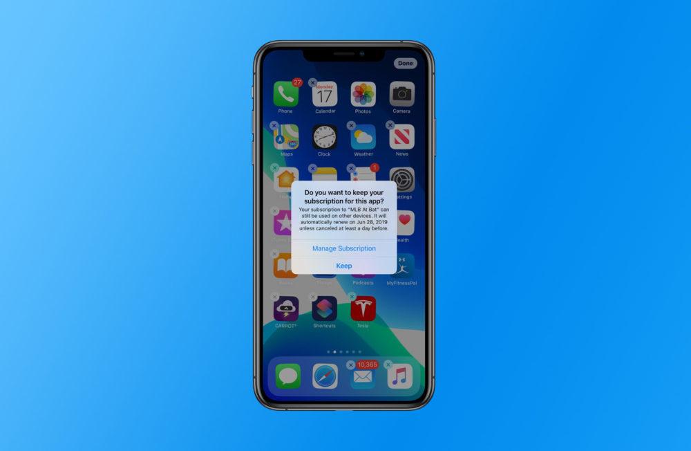ios 13 subscription 1000x652 iOS 13 vous avertit si vous supprimez une application avec un abonnement actif
