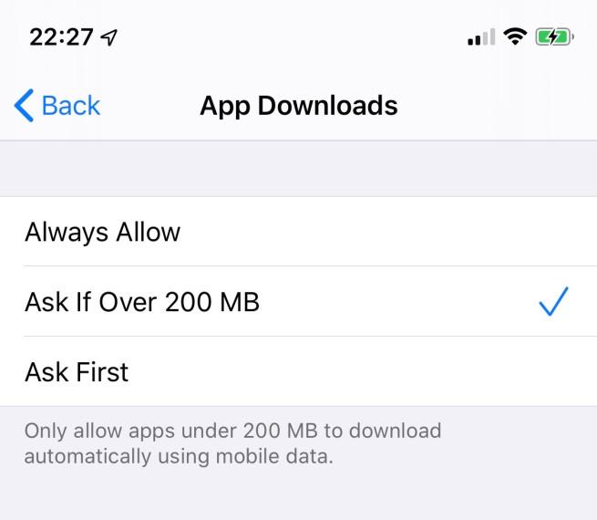ios 13 supprime limite telechargement App Store : iOS 13 supprime la limite de téléchargement de 200 Mo en 3G/4G