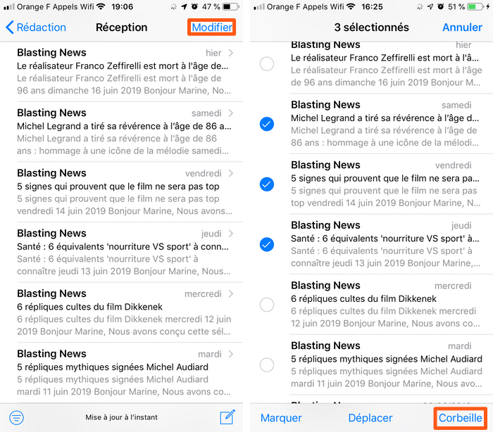 iphone supprimer mail selectionner Comment tout sélectionner pour supprimer les e mails sur iPhone