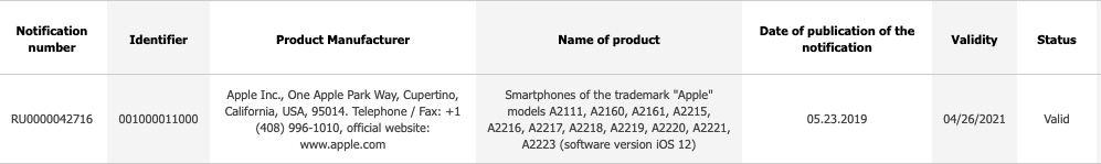 references iphone ecc De nouveaux iPhone référencés en Russie pour fin 2019