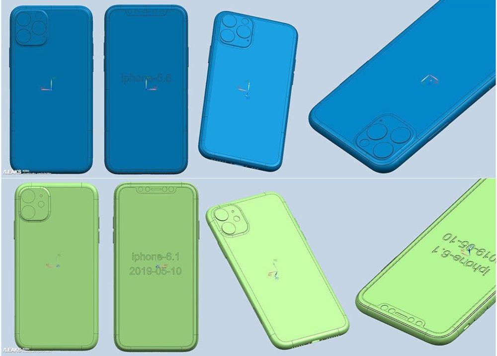 Rendus CAD iPhone 2019 1000x716 iPhone de 2019 : des rendus CAD approuvent le triple et le double capteur photo