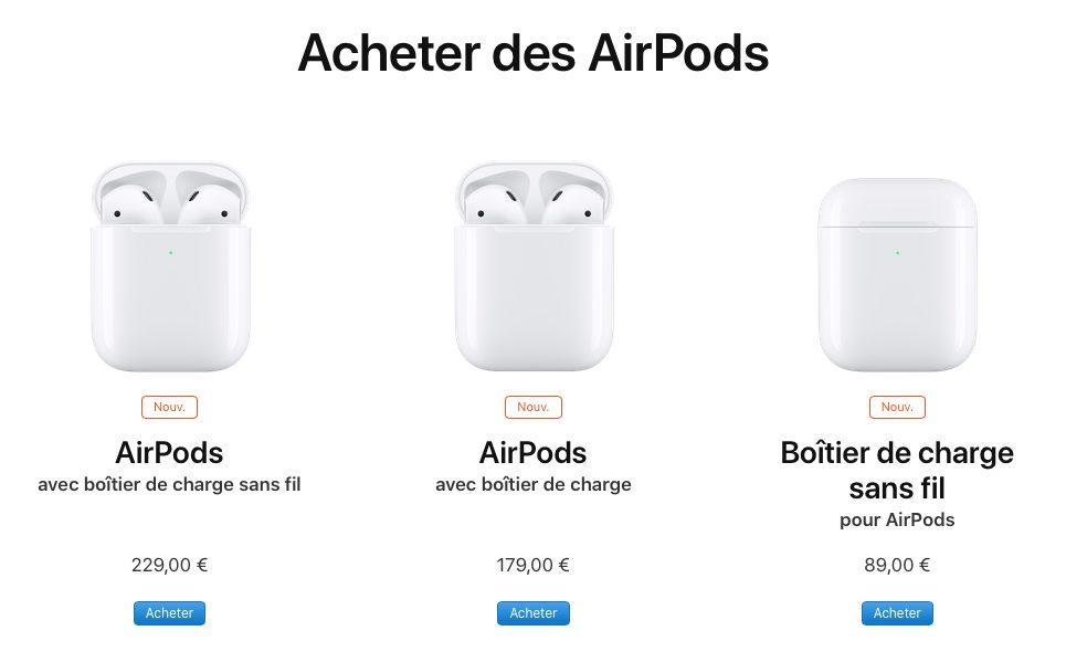 airpods prix Les différences entre les AirPods 1 et 2