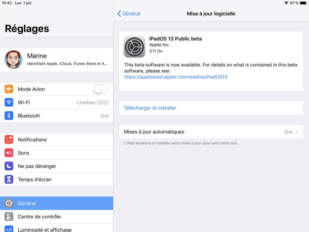 ipad maj beta ipados 1 Comment télécharger et installer la bêta iOS 13 sur son iPhone
