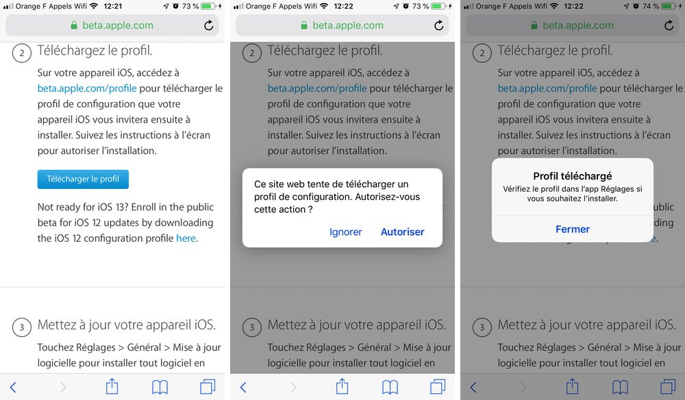 iphone autoriser telecharger profil beta Comment télécharger et installer la bêta iOS 13 sur son iPhone