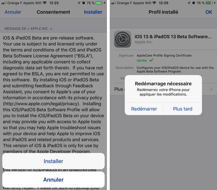 iphone finir installer profil beta Comment télécharger et installer la bêta iOS 13 sur son iPhone