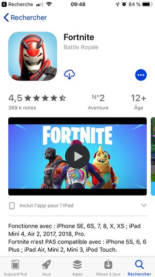 iphone informations fortnite appstore Comment installer Fortnite sur son iPhone ou iPad