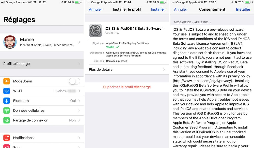 iphone installer profil beta Comment télécharger et installer la bêta iOS 13 sur son iPhone