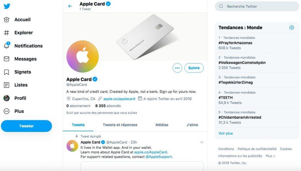 apple card page twitter 1000x569 Apple lance un compte Twitter pour lApple Card, sa carte bancaire