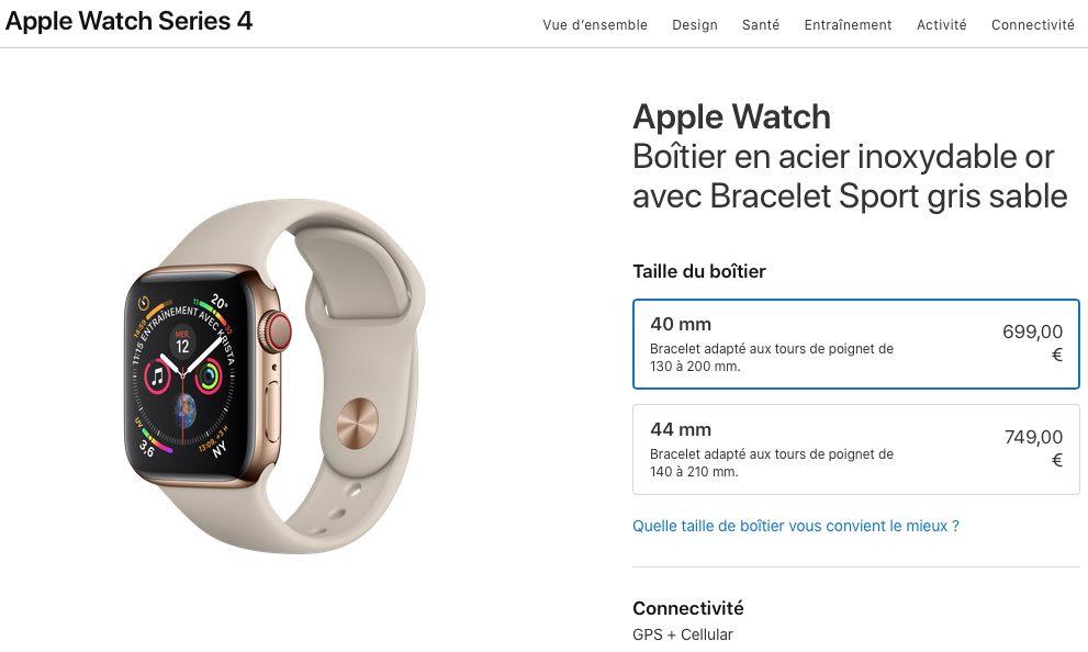 apple watch series 4 acier inoxydable prix Les différences entre l'Apple Watch Series3 et Series4