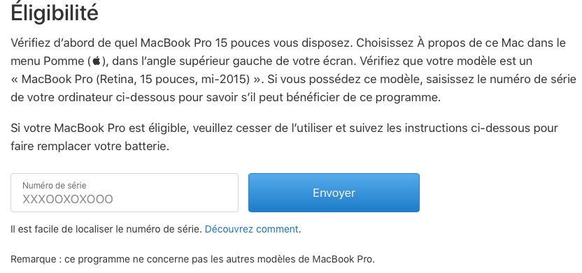 eligibilite mbp remplacement batterie Programme de remplacement des batteries de MacBook Pro mi 2015