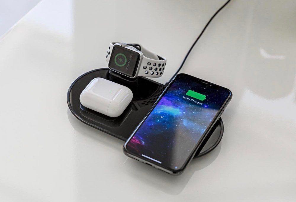 mophie 3 in 1 wireless charging pad 1000x683 Apple vend un analogue du AirPower qui peut recharger jusquà 3 appareils simultanément
