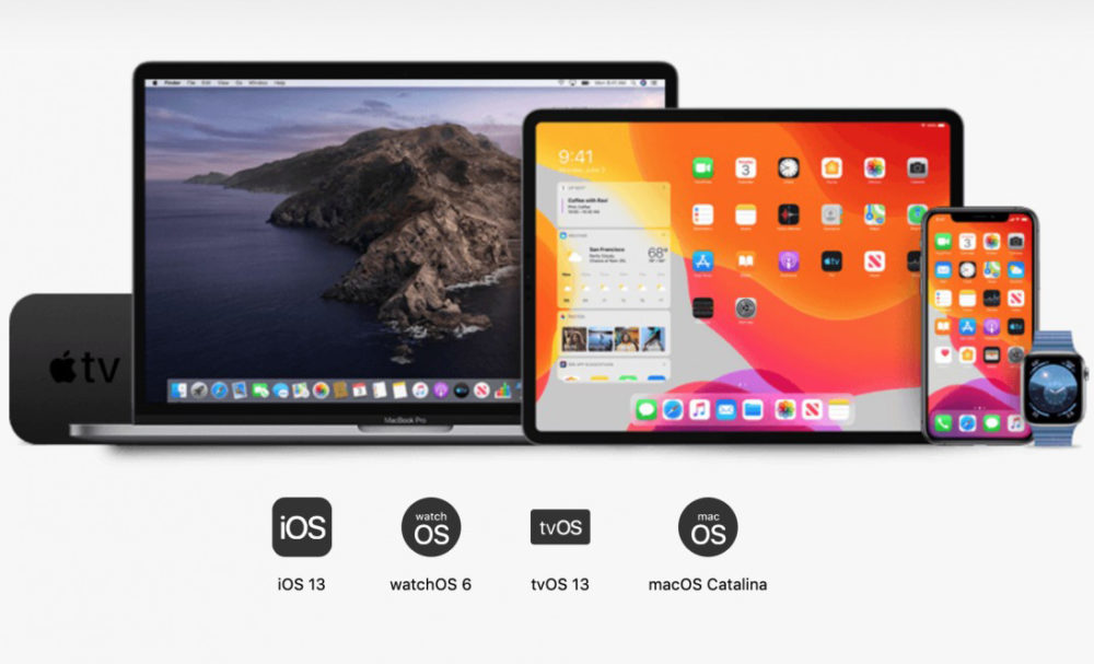 ios 13 ipados 13 macos catalina watchos 6 1000x607 iOS 13 et watchOS 6 dispo le 19 septembre, iPadOS, le 30 et macOS Catalina, en octobre