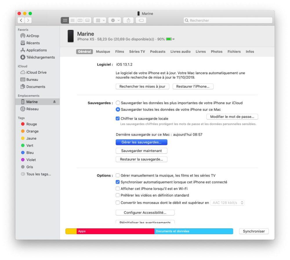 finder gerer sauvegardes Comment et pourquoi effectuer une sauvegarde archivée de son iPhone ?