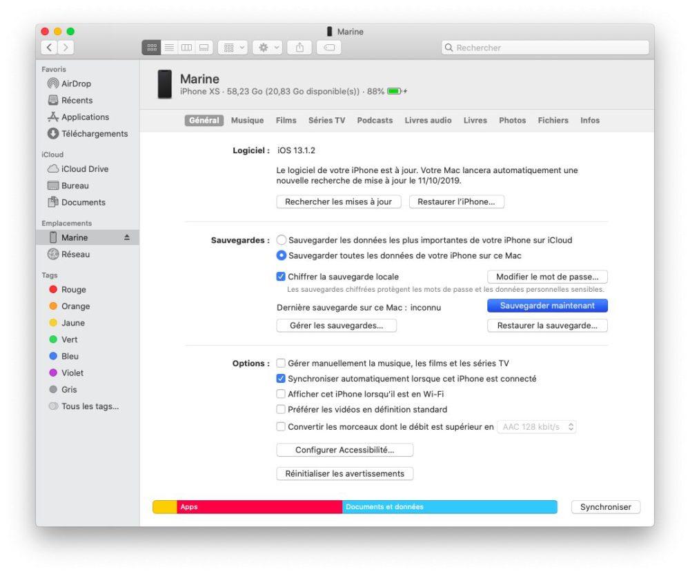 finder sauvegarde iphone Comment trouver l'iPhone avec macOS Catalina pour synchroniser et sauvegarder