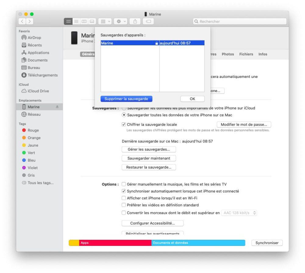finder supprimer sauvegarde Comment et pourquoi effectuer une sauvegarde archivée de son iPhone ?